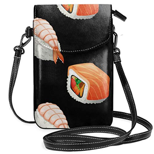 Small Cell Phone Purse For Women Leather Sushi Insides Card Slots Crossbody Bags Wallet Shoulder Bag -