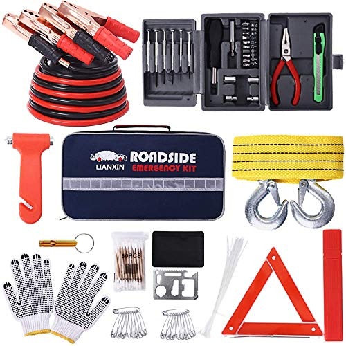 LIANXIN Car Kits Emergency – Multifunctional Highway Emergency Kit,Jumper Cables Set 8.3 FT is Suitable for All Cars