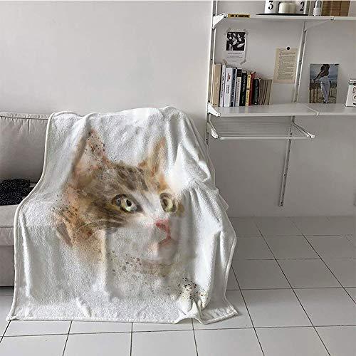 Khaki home Children's Blanket Microfiber Digital Printing Blanket (50 by 70 Inch,Cat Decor,Vintage Blurry Kitten Painting Domestic Cute Furry Animal Kitty Pet Art Image,Tan Beige