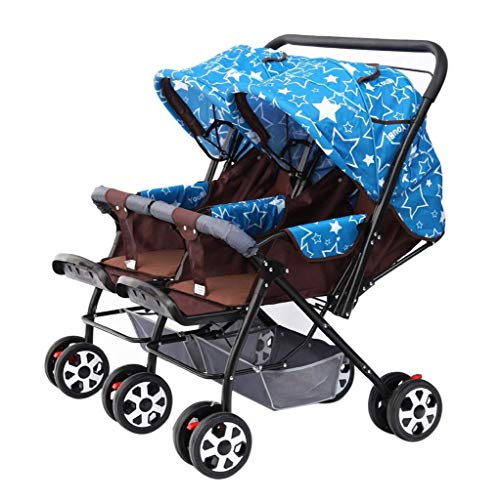 WDOPZMS Baby Stroller for Children – Baby Carriage High View Side by Side Stroller, Foldable Tandem Stroller Together Double Stroller Tandem Stroller,Together Double Stroller (Color : Blue Star)