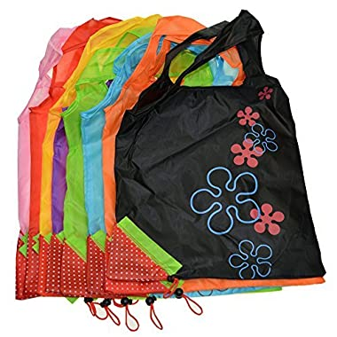 Reusable Shopping Bag,Foldable Canvas Tote Eco Grab Bag with Handles,Grocery Shopping Bags (1, 8 PCS Color Mixture )