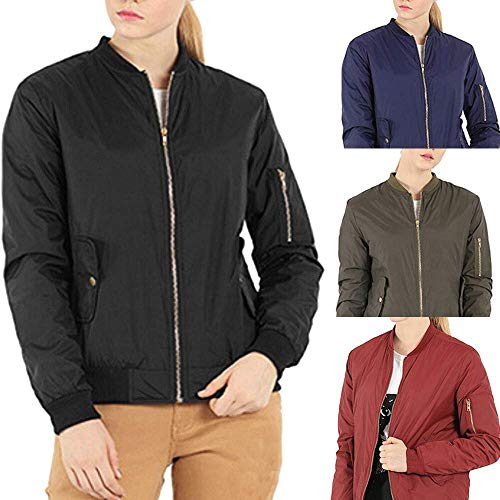 Abrigo Azul color Womens L Solid Chaqueta Outwear Winter Collar Full Negro Stand Tamaño Zipper Bomber PxRwPvZ