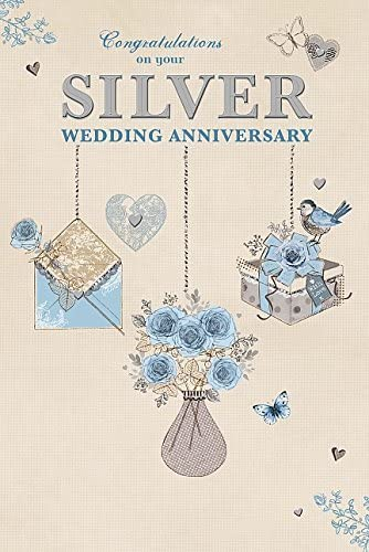 Congratulations Silver 25th 25 Years Greeting Card New Anniversary