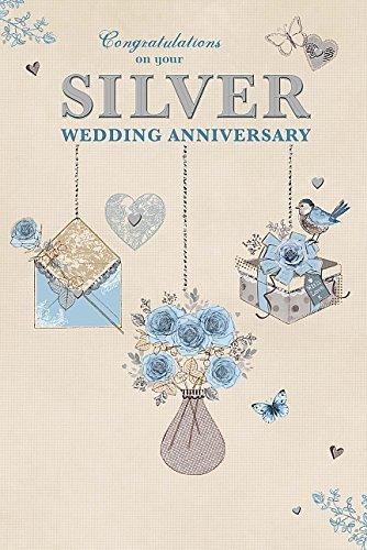 Amazon Com Silver 25th Congratulations 25 Year Wedding