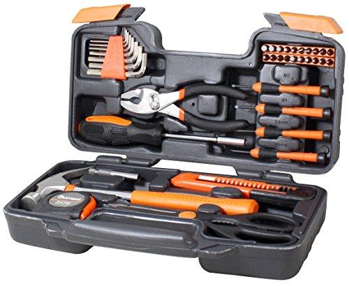 General Tool Kit (Cartman Orange 39-Piece Tool Set - General Household Hand Tool Kit with Plastic Toolbox Storage)