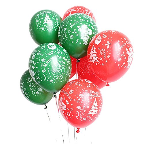Toeduk 50 Pack Xmas Balloon Green & Red Merry Christmas Latex Rubber Balloons ,Blacklight Party Balloons that Glow in the Dark under Blacklight - Neon Flourescent Latex Balloons (Latex Christmas Balloons)