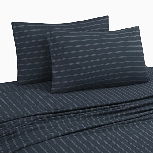 DELANNA Jersey Knit Sheet Set Soft Breathable T-Shirt Weave (Navy Stripe, Full) (5 Oz Flannel Shirt)