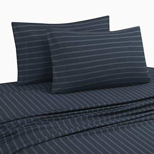 DELANNA Jersey Knit Sheet Set Soft Breathable T-Shirt Weave (Navy Stripe, Full) (5 Oz Flannel Shirt)