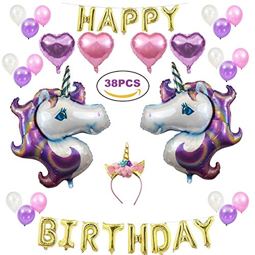 TECHSON Unicorn Party Supplies, 38 PCS Birthday Balloons Decoration Kit - Include Unicorn Headband, Foil Unicorn Balloons, Shimmering Heart-Shaped Balloons, Gold Birthday Banner (Unicorn Set) ()