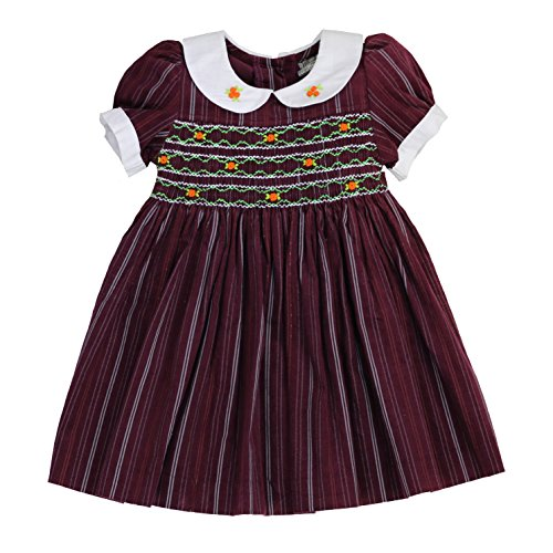 sissymini - Infant and Toddlers Soft Corduroy Printed Hand Smocked Dress | Blair Saxtons' Distressed Stripes in Burgundy 18M