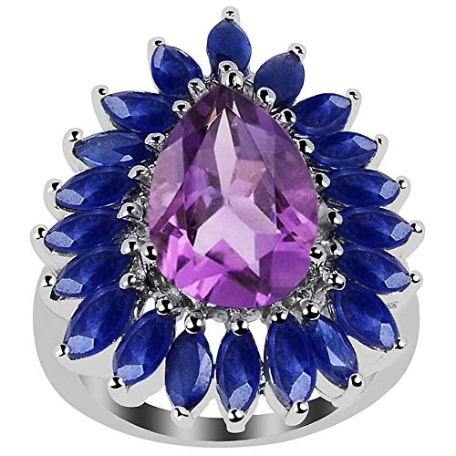 Orchid Jewelry 7.78 Ct Pink Pear Amethyst and Sapphire 925 Sterling Silver Ring for Women: Nickel Free Beautiful and Stylish Genuine Engagement Ring for Wife: Ring Size-8