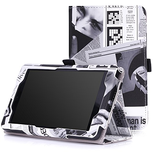 D 6 - Slim Folding Cover for Amazon Kindle Fire HD 6 Inch 2014 Tablet, Newspaper BLACK (Newspaper Leather)