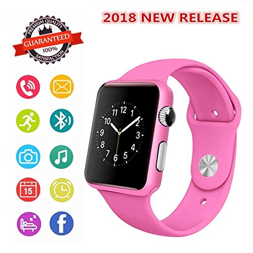 Smartwatch, Bluetooth Smart Watch Phone 2018 Upgrade Wristwatch with Pedometer Camera SMS SNS Sync Music Player SIM Card Slot for Android IPhone (Partial Functions) Men Women Kids (Pink)