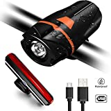 Bike Light Set Ultra-Bright Rechargeable USB Headlight Waterproof Bike Front Light with Tail