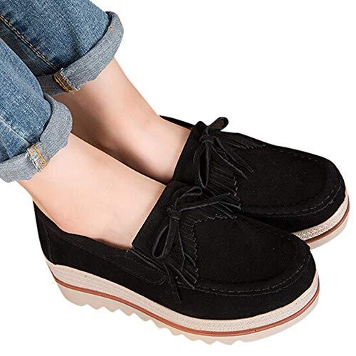 Épais Unie Les Fond Coin Noir Couleur Chaussures Femme Yebiral gYaFTq