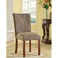 HomePop Elegant Blue and Brown Damask Upholstered Fabric Parson Dining Room Chairs (Set of 2)