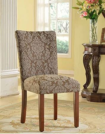 Amazon Com Homepop Elegant Blue And Brown Damask Upholstered