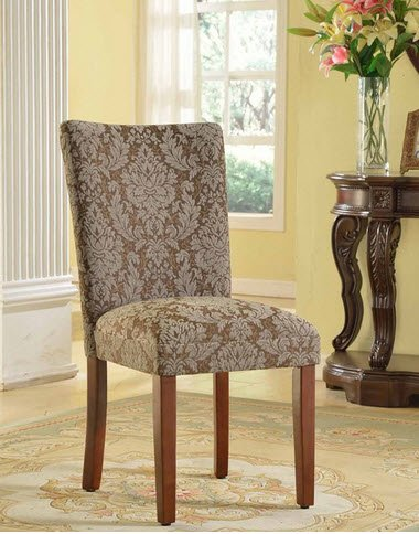 Amazon.com - HomePop Elegant Blue and Brown Damask Upholstered ...