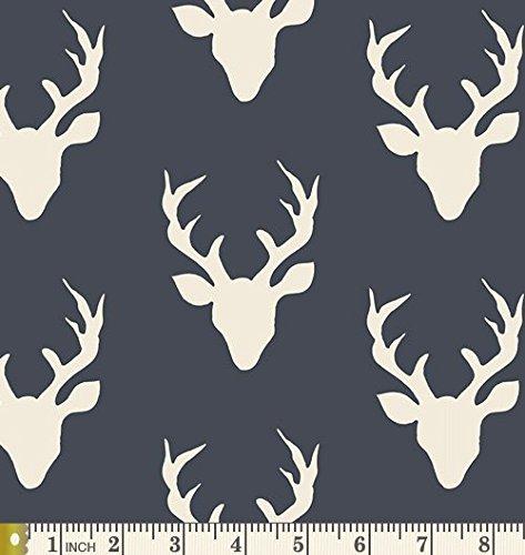 Buck Forest Twilight - Hello Bear - Art Gallery Fabric - Bonnie Christine - HBR-4434-3 - Deer Silhouette Navy Antlers Silo Head (Half yard)
