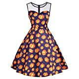 MOKO-PP Women's Vintage O-Neck Print Sleeveless Halloween Party Swing Dress