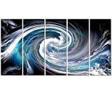 Visual Art Decor Abstract Blue Wave Painting Giclee Canvas Prints Fancy Landscape Home Decor Wall Art Ready to Hang (Large)