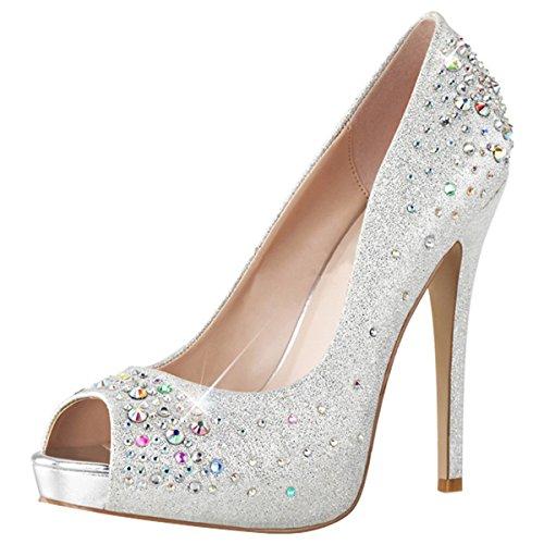 Heels-Perfect - Zapatos de vestir de material sintético para mujer Plata - Silber (Silber)