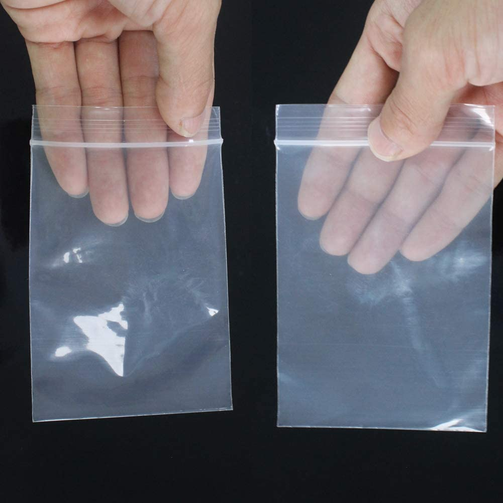 DUOFIRE Small Clear Bags Resealable Poly Bags Storage Plastic Bags 100PCS 10 x 15cm