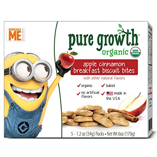 Pure Growth Organic Minions Breakfast Biscuit Bites, Apple Cinnamon, 6 Ounce