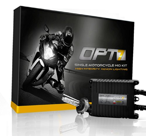 (OPT7 Bolt AC 35w Single HID Kit for Motorcycles - 4.5X Brighter - All Bulb Sizes and Colors - Simple Install - 2 Yr Warranty [H7-6000K Lightning Blue] )