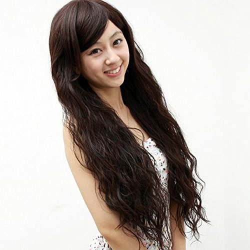 [ACE 4 Colors Women Corn Perm Fluffy Long Curly Hair Wig Oblique Bangs Wig] (Perm Wigs)