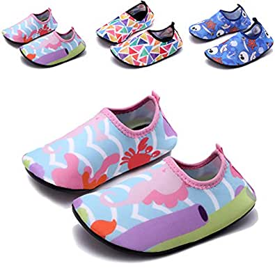 Sixspace Kids Water Shoes Swim Shoes Quick-Dry Barefoot Sock Shoes for Beack Swim Pool Yoga Pink Size: 1-2 Little Kid
