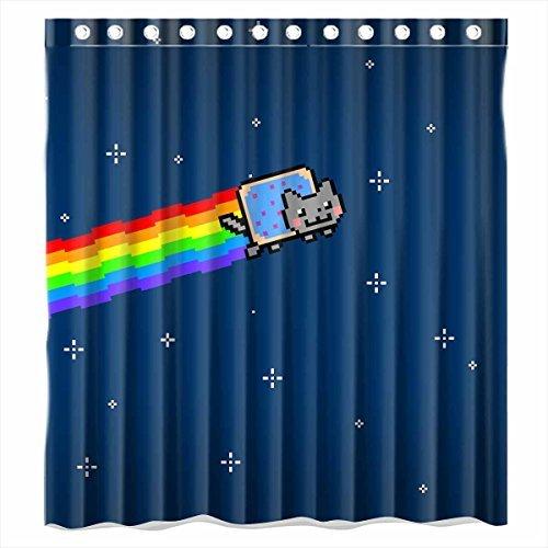 Custom Nyan Cat Pixel Art Waterproof Bathroom Shower Curtain Polyester Fabric Size 66 X