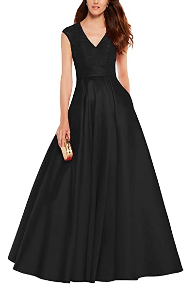 82144071313 Long Mother of The Groom Dress Lace Stain Formal Evening Party Gown Black  Size 2