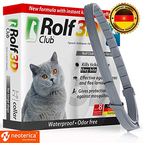 Rolf Club 3D FLEA Collar for Cats - Flea and Tick Prevention for Cats - Cats Flea and Tick Control for 8 Months - Safe Tick Repellent - Waterproof Tick Treatment