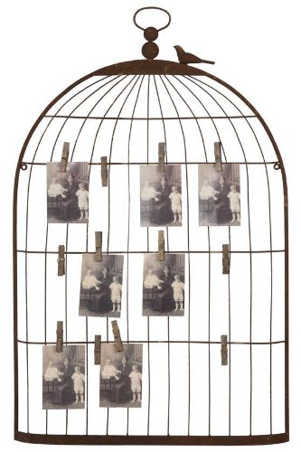Deco 79 Unique Photo Holder as a Charming Bird Cage (Bird Photo Holder)