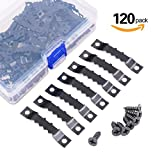 pictures hangers - Swpeet 120 Pcs Sawtooth Picture Frame Hanging Hangers Double Hole with Screws, for Home Decoration Creative Picture Frame Hanging (Black)