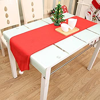 Party Table Runner - Decorative Table Runner - 34X176CM Christmas Table Runner Mat Tablecloth Christmas Flag Home Party Decor Red Table Runners (Christmas Table Runner)