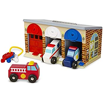 melissa doug lock and roll rescue garage 3 wooden vehicles garage with locking. Black Bedroom Furniture Sets. Home Design Ideas