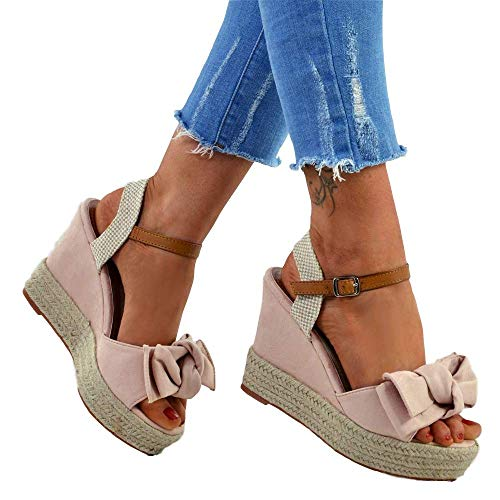 (Liyuandian Womens Platform Espadrille Wedges Open Toe High Heel Sandals with Ankle Strap Buckle Up Shoes (6 M US, C Pink))