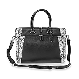 Levenger AL15215 NM Slim and Chic Leather Blair Brief Bag, Snake