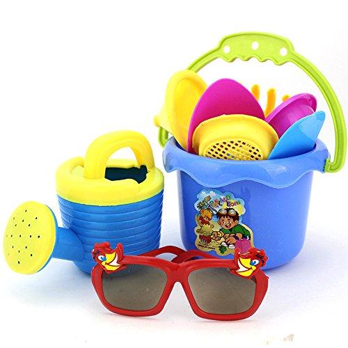 (9Pcs Sand Kids Beach Toys Castle Bucket Spade Shovel Rake Water Tools for Kids)