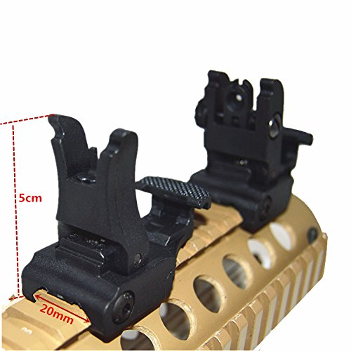 HWZ 2017 New Front and Rear Sight for AR-15 M16 Flat Top Rifles Low Profile Flip-Up Sight (Ar 15 M16 Rifle)