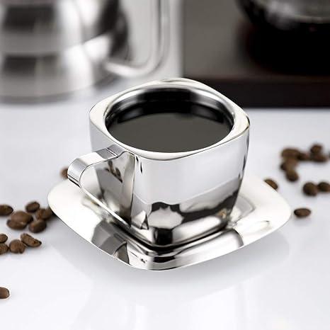 Homeauty Juego de Tazas de café de Acero Inoxidable Taza de ...