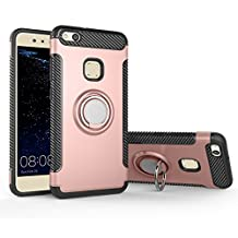 COOLKE Dual Layer Shockproof TPU Silicone + PC Hard Back shell 360 Rotating Ring Grip Holder Kickstand with Back Magnetic Circle Protective Case Cover for huawei p10 Lite - Rose Gold