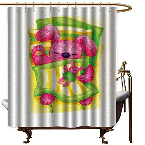 Godves Polyester Fabric Shower Curtain,Cartoon Decor Collection Cute Baby Rabbit Sleeps in The Bed with Teddy Bear Bunny Cartoon Character Print,Fashionable Pattern,W94x72L,Green Yellow Pink