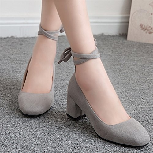 AIYOUMEI Damen Wildleder Chunky Heel Pumps mit Schnürung und 6cm Absatz Blockabsatz Bequem Schuhe Grau