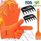 Targher BBQ Gloves Meat Claws 9 in 1 Set with Silicone BBQ Gloves, Meat Shredder Claws, S Hook, BBQ Grill Brush, High Heat Resistance up to 425°F, Non-slip BBQ Grill Accessories For Indoor & Outdoor
