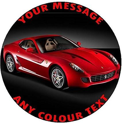 Roter Ferrari Sporttasche Car Birthday Cake Topper Tortendekoration Personalisierbar Durchmesser 19 Cm Rund Amazon De Lebensmittel Getränke