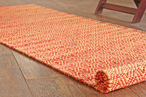 Hotweave Hand-Loom Woven 2'x6' / 60x180 cm Red/Yellow Diamond Pattern Runner Rug, Style: (0070 Rug)
