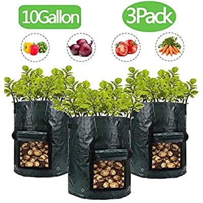 Potato Grow Bag, 3 Pack PE Aeration Garden Planter Bags-Heavy Duty Thickened Pots Grow Bags with Flap Velcro Window & Handles (10 Gallon, Green) Growing Bags Outdoor Plant Pots with 15 Pcs Plant Labels : Garden & Outdoor